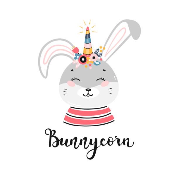 小さな面白いバニーコーンを持つ子供のためのtシャツプリントデザイン。フラワーホーンで落書きマジックかわいいユニコーンバニー、ウサギやウサギ。漫画動物ベクトルイラスト。スカン - 花のボーダー点のイラスト素材/クリップアート素材/マンガ素材/アイコン素材