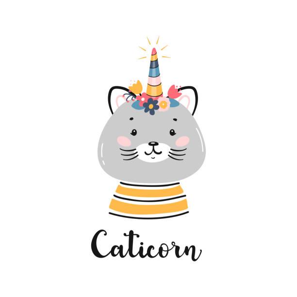 小さな面白いカチコーンと子供のためのtシャツプリントデザイン。フラワーホーン付き落書きマジックかわいいユニコーン猫。漫画動物ベクトルイラスト。スカンジナビアポスター, ベビー� - 花のボーダー点のイラスト素材/クリップアート素材/マンガ素材/アイコン素材