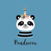 T-shirt Print Design for Kids with Little Funny Pandicorn. Doodle Magic Cute Unicorn Panda Bear with Flower Horn. Cartoon Animal Vector illustration. Scandinavian Poster, Baby Shower Greeting Card