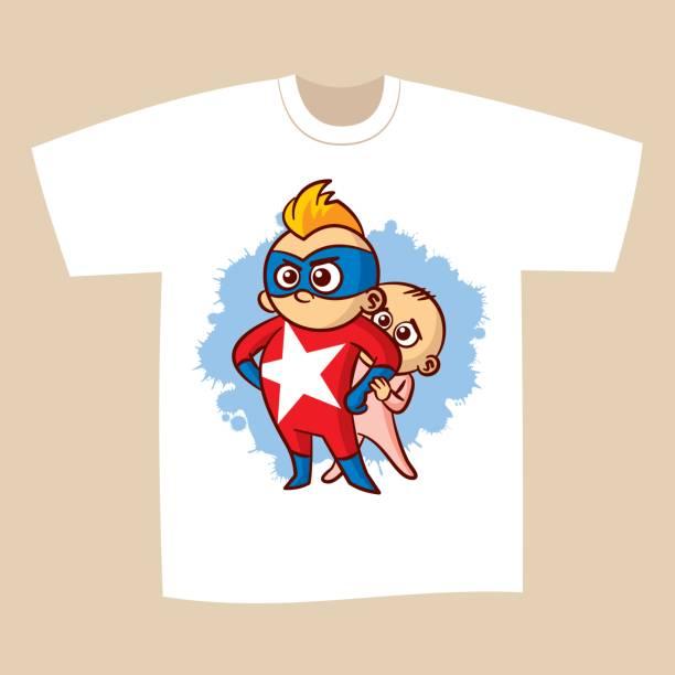 ilustrações de stock, clip art, desenhos animados e ícones de t-shirt print design superhero - baby super hero