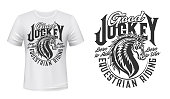 Jockey club horse vector print for t-shirt mockup. Equestrian riding and equine racing sport, wild mustang stallion symbol with Born to Ride and Win quote