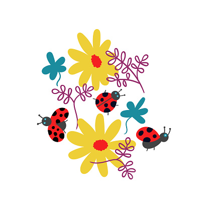 T-shirt print ladybugs and flowers