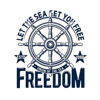 Tshirt print ship steering wheel, vector emblem
