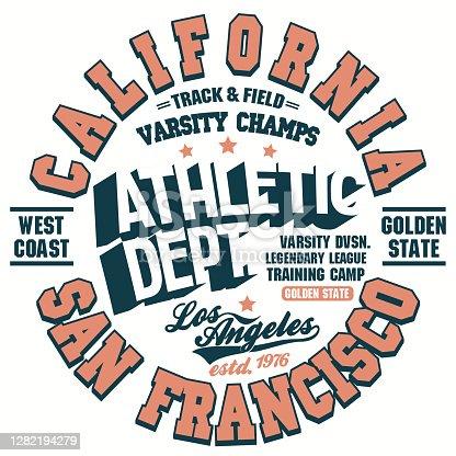 T-shirt print, Shirt graphic design. California athletic wear stamp. Vector
