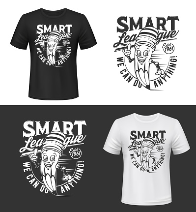 T-shirt print vector with smiling pencil
