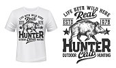 Tshirt print with wild boar, vector mascot for hunting club, white apparel mockup with sketch wild pig and lettering. T shirt uniform activewear template, monochrome print, badge or tattoo with boar