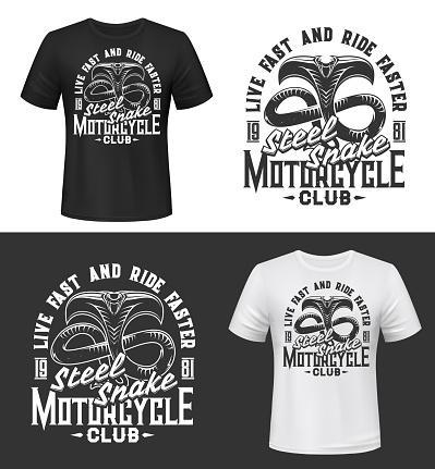 Tshirt print with cobra, motorcycle club mascot