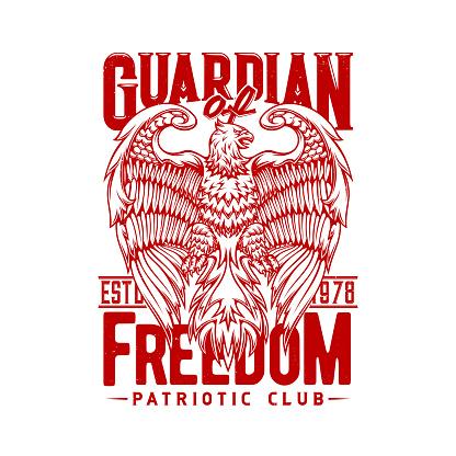 Tshirt print with eagle, mascot for patriotic club