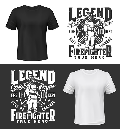 Tshirt print with firefighter in uniform, gas mask