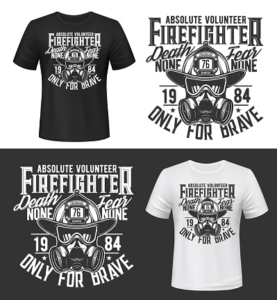 Tshirt print with firefighters equipment gas mask