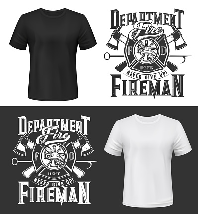 Tshirt print with firefighters helmet, ax, ladder