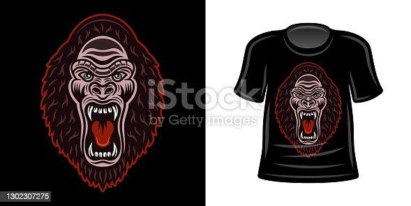T-shirt print with gorilla head vector apparel design template