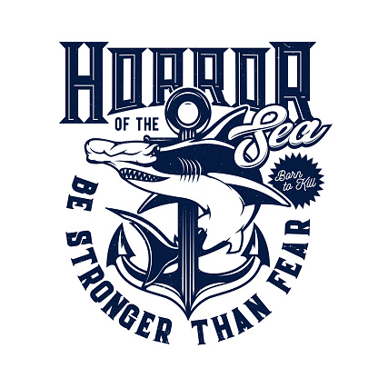 Tshirt print with hammer head shark vector mascot