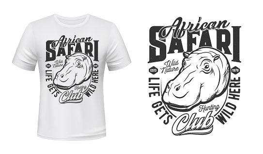 Tshirt print with hippo mascot for african safari