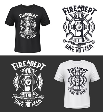 Tshirt print with hydrant, vector apparel mockup