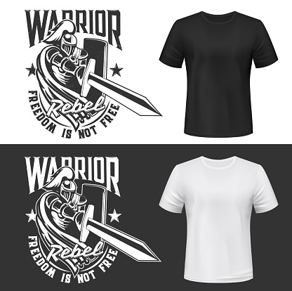 Tshirt print with knight and sword vector mockup