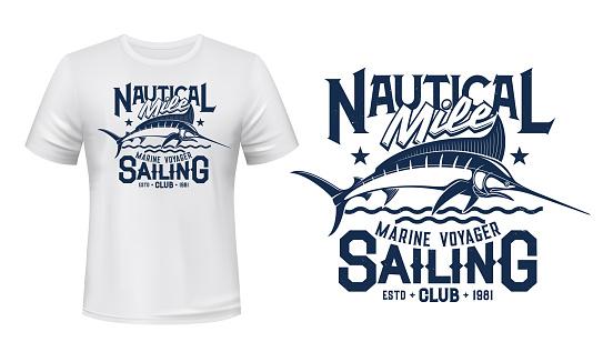 T-shirt print with marlin fish fishing club mascot