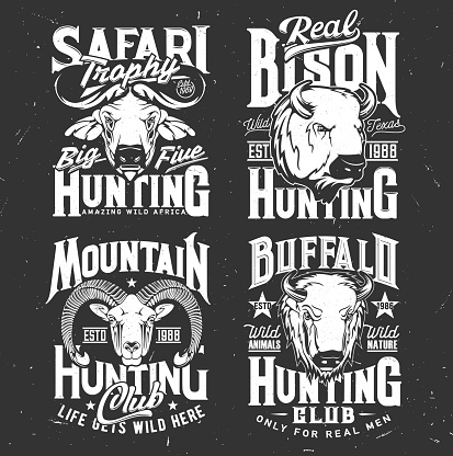 Tshirt print with mountain goat, buffalo and bison