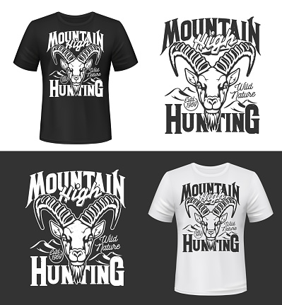 Tshirt print with mountain goat head vector mockup