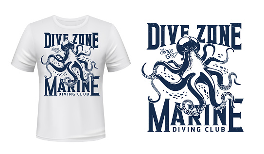 T-shirt print with octopus for scuba dive club