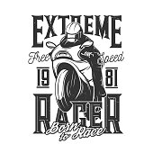 Tshirt print with racer riding off road bike, vector mascot for sports team apparel design. T shirt print with typography born to race. Monochrome isolated grunge emblem or label on white background