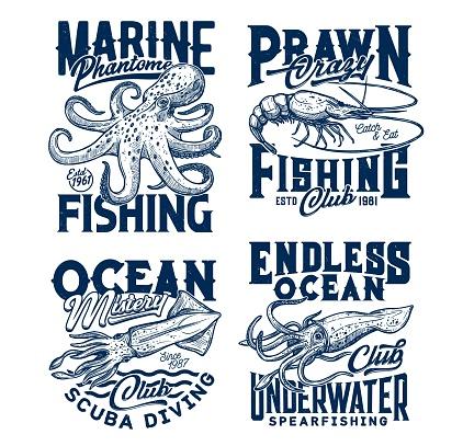 Tshirt print with vector sketch underwater animals