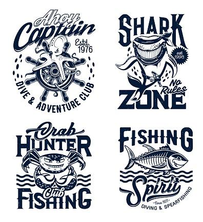 Tshirt prints underwater animals, vector mascots