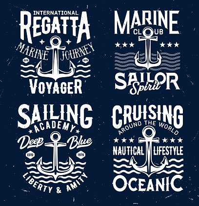 Tshirt prints with anchors and sea waves design
