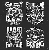Tshirt prints with wild bear and boar, vector mascots for sport and fighting club. Apparel uniform design with wild predators. T shirt activewear template, monochrome print, badge with pig and grizzly