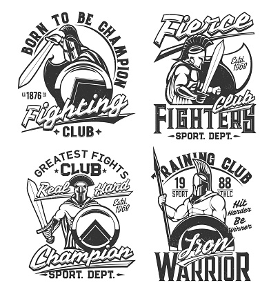 Tshirt prints with gladiator warriors with swords
