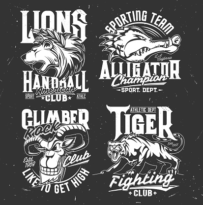 Tshirt prints with goat, alligator, lion and tiger