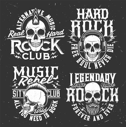 Tshirt prints with skull mascot for rock band set