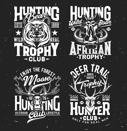Tshirt prints with wild animals for apparel design