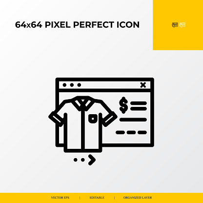 T-Shirt Product icon.E-commerce Related Vector Line Icons.64x64 pixel perfect icons