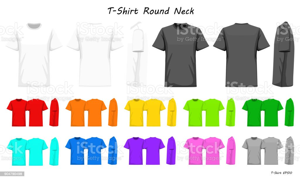 T-Shirt round neck color collection set for your design , mockup advertising , blank for printing , vector illustration , whit black grey red orange yellow green blue purple pink color vector art illustration
