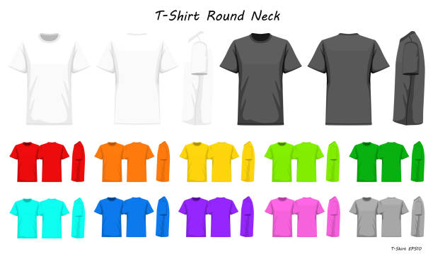 ilustrações de stock, clip art, desenhos animados e ícones de t-shirt round neck color collection set for your design , mockup advertising , blank for printing , vector illustration , whit black grey red orange yellow green blue purple pink color - teeshirt template
