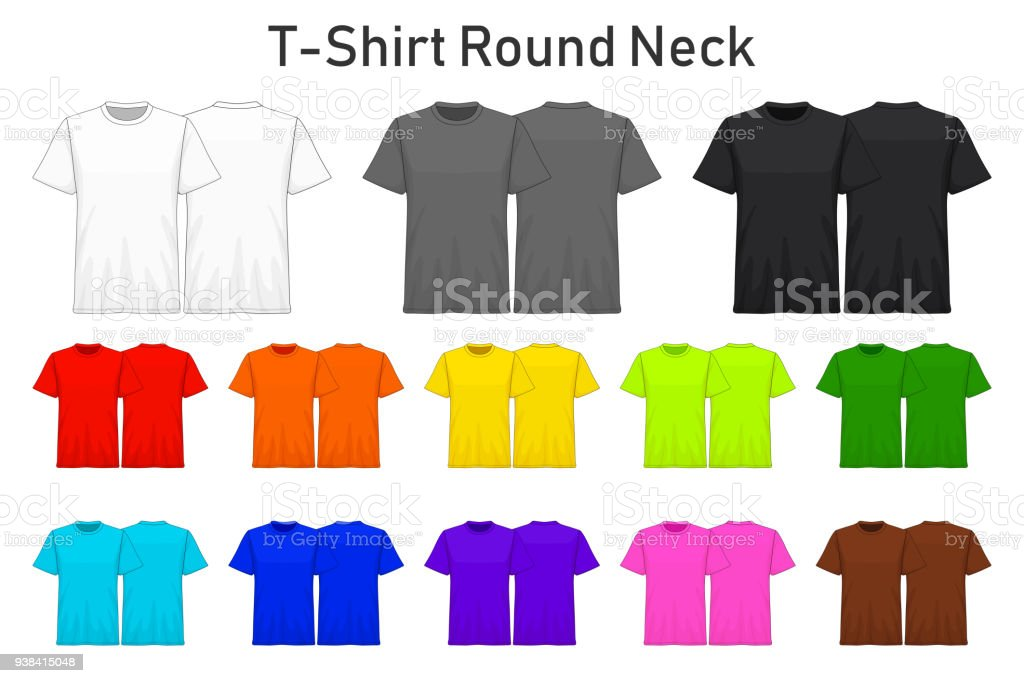 Hervorragend T Shirt Runder Hals Farbe Sammlungssatz Für Ihr Design, Mock Up Werbung,