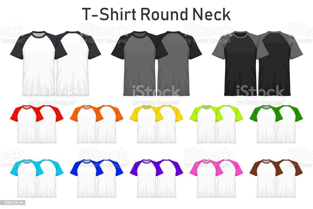 T Shirt Runder Hals Farbe Sammlungssatz Für Ihr Design, Mock Up Werbung,