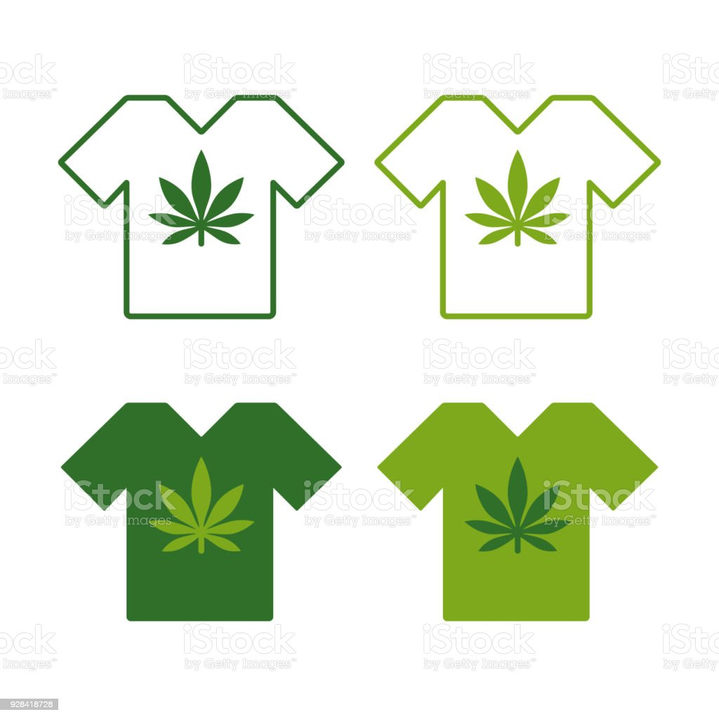 T-shirt set with Cannabis leaf emblem. T shirt designs with marijuana motifs. vector art illustration
