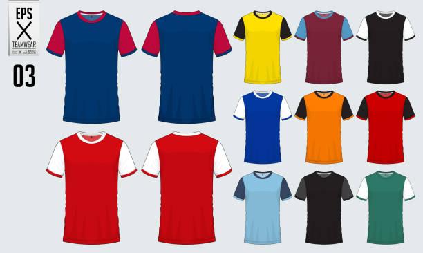 T-shirt sport design for soccer jersey, football kit or sport uniform template. Football t-shirt mock up. Front and back view soccer uniform. Vector. vector art illustration