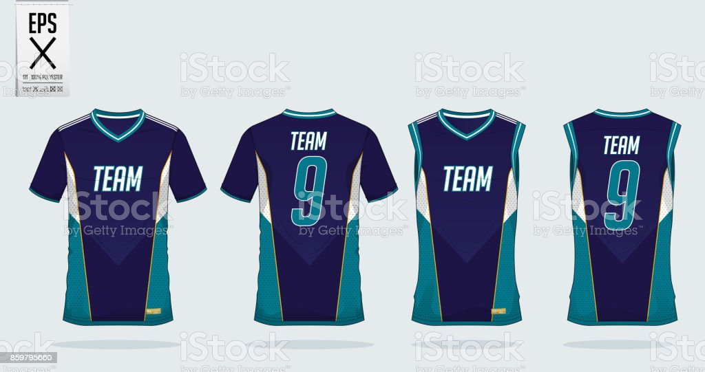 T-shirt sport design template for soccer jersey, football kit and tank top for basketball jersey. T-shirt uniform in front view and back view. Sportswear t shirt mock up for sport club. Vector vector art illustration