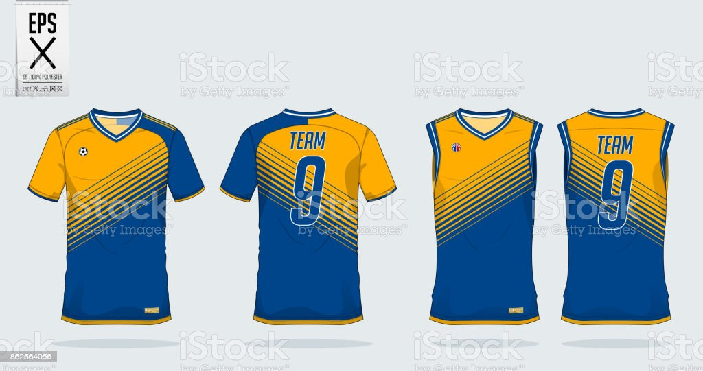 4613df0c4a2 T-shirt sport design template for soccer jersey, football kit and tank top  for basketball jersey. T-shirt uniform in front view and back view.