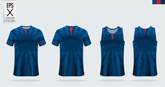 T-shirt sport mockup template design for soccer jersey, football kit, tank top for basketball jersey and running singlet. Sport uniform in front view and back view.  Vector
