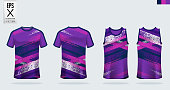 T-shirt sport mockup template design for soccer jersey, football kit. Tank top for basketball jersey and running singlet. Sport uniform in front view and back view. Vector.