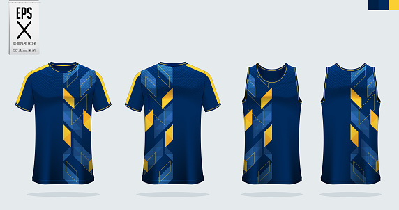 T-shirt sport mockup template design for soccer jersey, football kit. Tank top for basketball jersey and running singlet. Sport uniform in front view and back view. Shirt Mockup Vector.