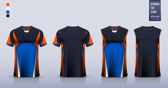 T-shirt sport, Soccer jersey, football kit, basketball uniform, tank top, and running singlet mockup. Fabric pattern design. Vector.