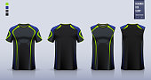 T-shirt mockup or sport shirt template design for soccer jersey or football kit. Tank top for basketball jersey or running singlet. Fabric pattern for sport uniform in front view back view. Vector Illustration.