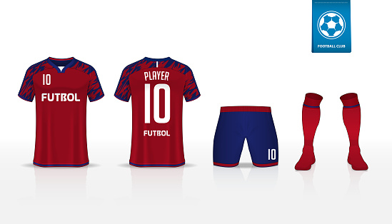 T-shirt sport template design for soccer jersey, football kit and tank top for basketball jersey. Sport uniform in front and back view. Sport shirt mock up for sport club. Vector.