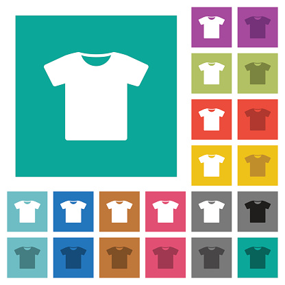 T-shirt square flat multi colored icons