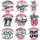 T-shirt stamp graphic set, New York Sport wear typography emblem collection, skate vintage tee print, athletic apparel design graphic print. vector
